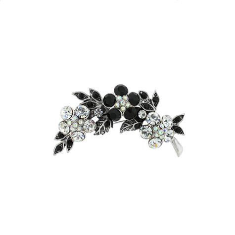 Clear & Black Crystal Brooch - VAB8076P