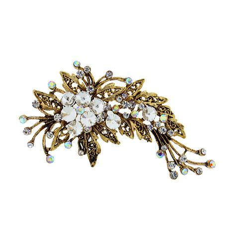 Antique Gold Brooch with Clear & AB Stones