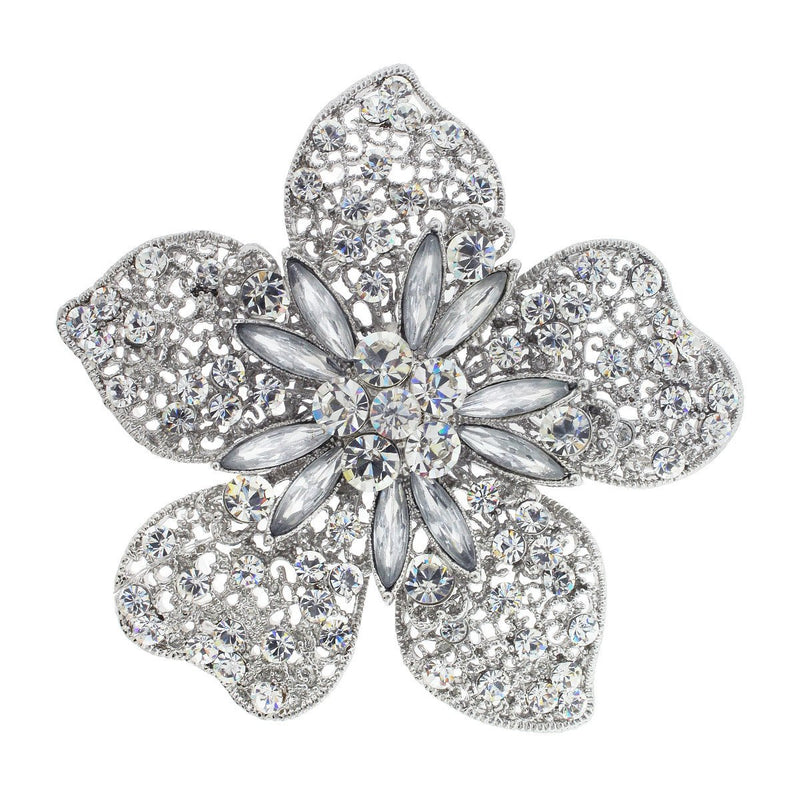 Large Flower Pin, Silver