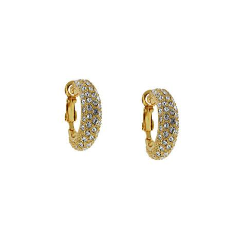 Gold Clip-On Pave Crystal Hoops - VAE16521