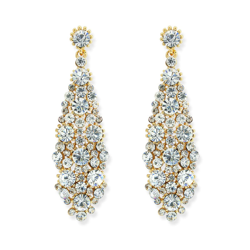 Rhinestone statement earrings - gold