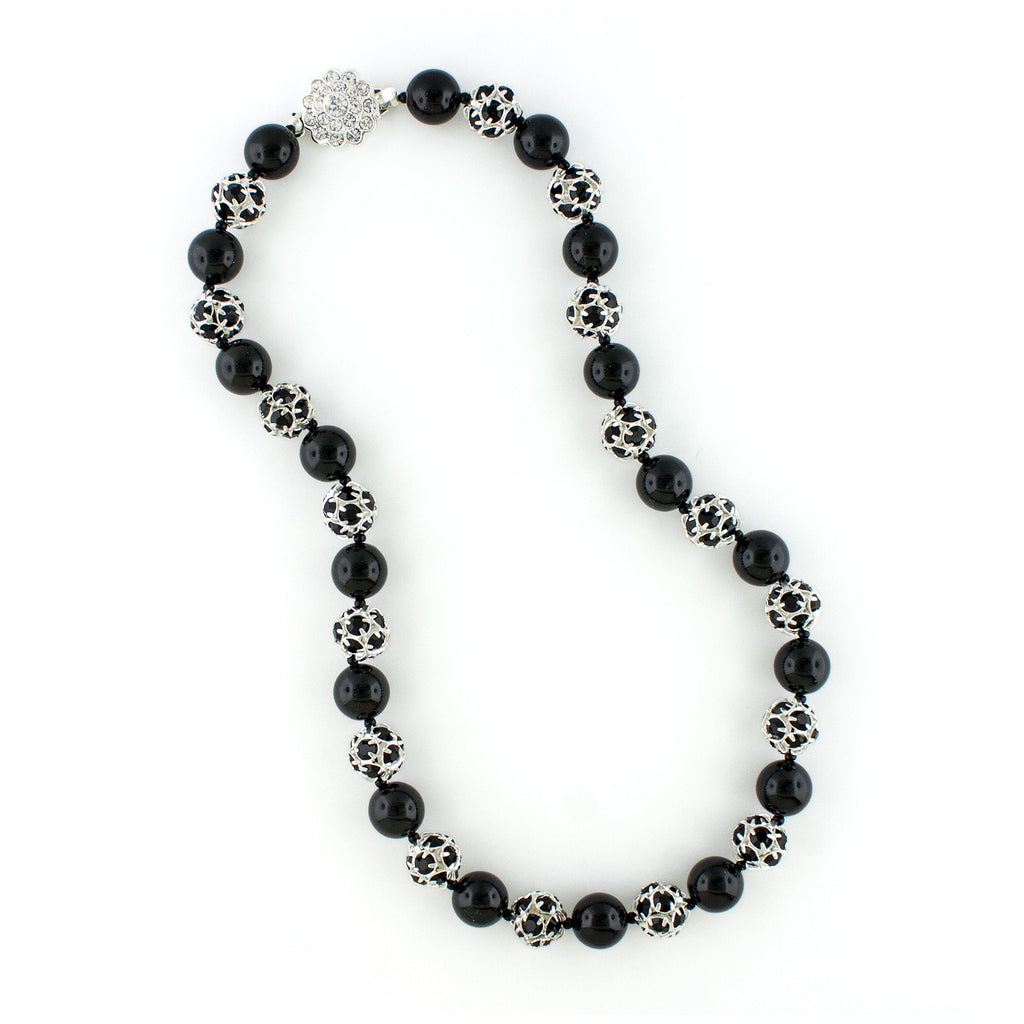 Black Pearl & Rhinestone Bead Necklace