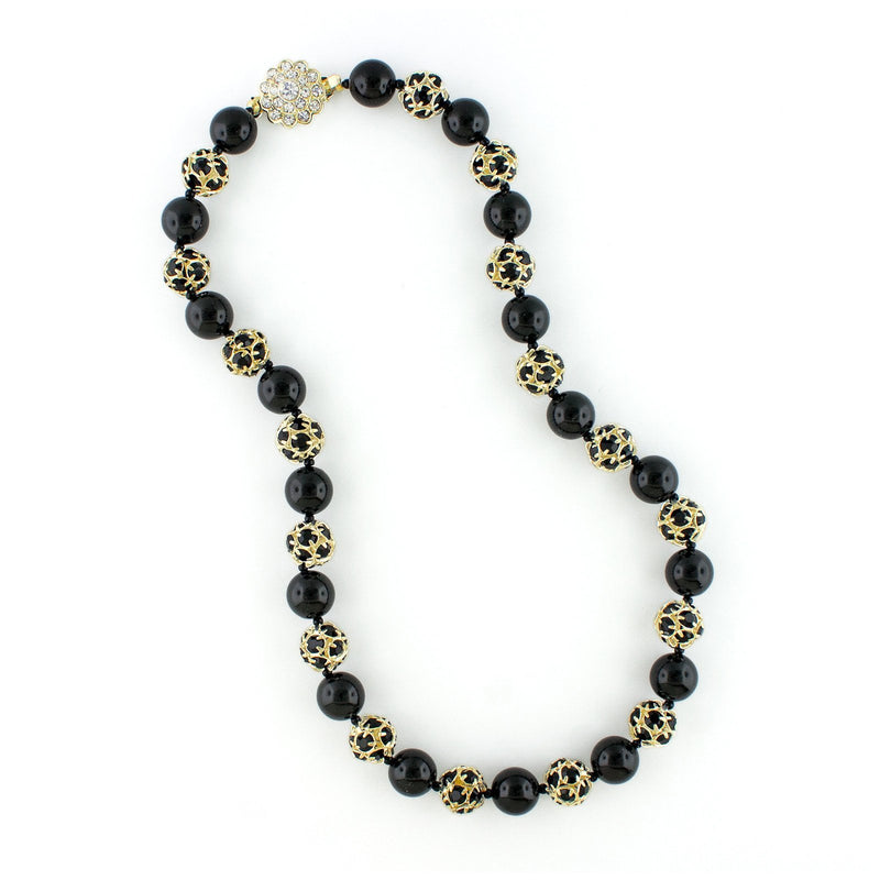 Black Pearl & Rhinestone Bead Necklace - Gold plate