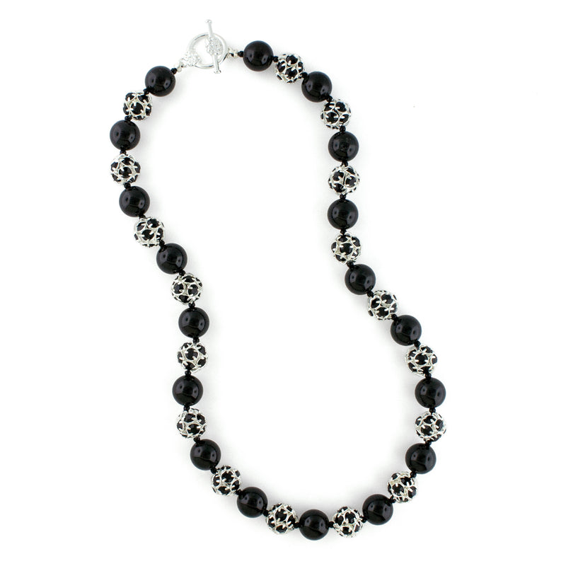 Black Pearl & Rhinestone Bead Necklace - toggle clasp
