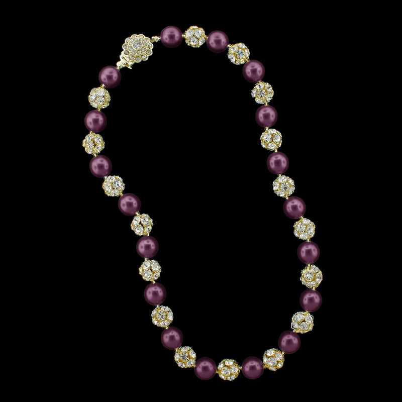 Purple pearl and gold rhinestone bead necklace