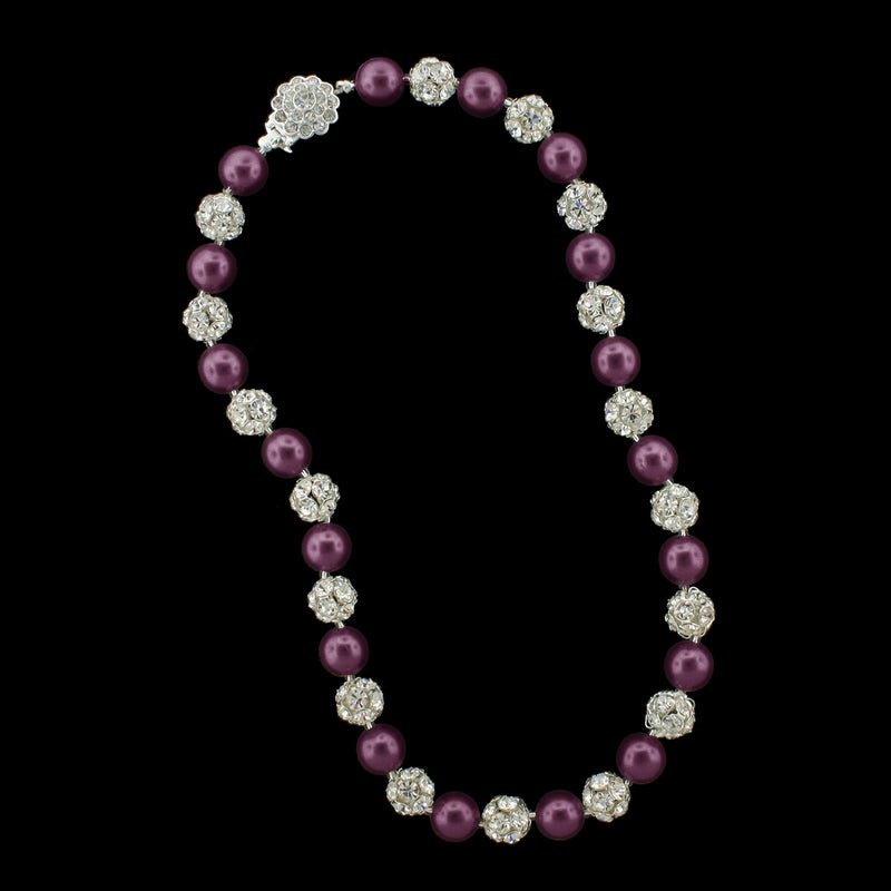 Amethyst pearl and silver rhinestone bead necklace