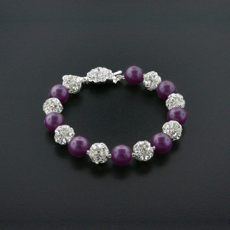 purple pearl bracelet with rhinestone beads