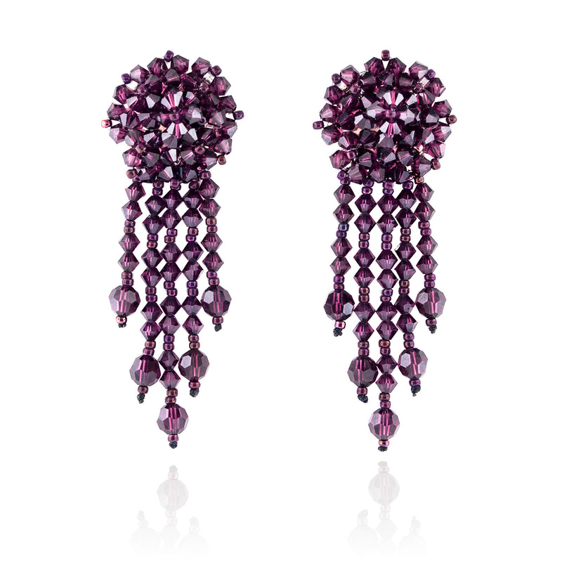 Purple Statement Earrings with Woven Cluster