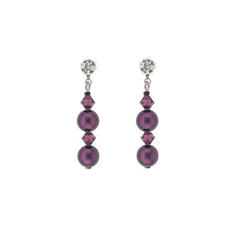 Purple Crystal & Pearl Drop Earrings