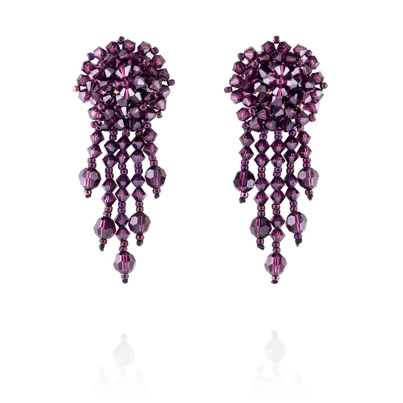 Purple Statement Earrings with Woven Cluster - short