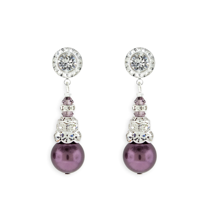 Purple Pearl Earrings with Silver Accents - Variation 2