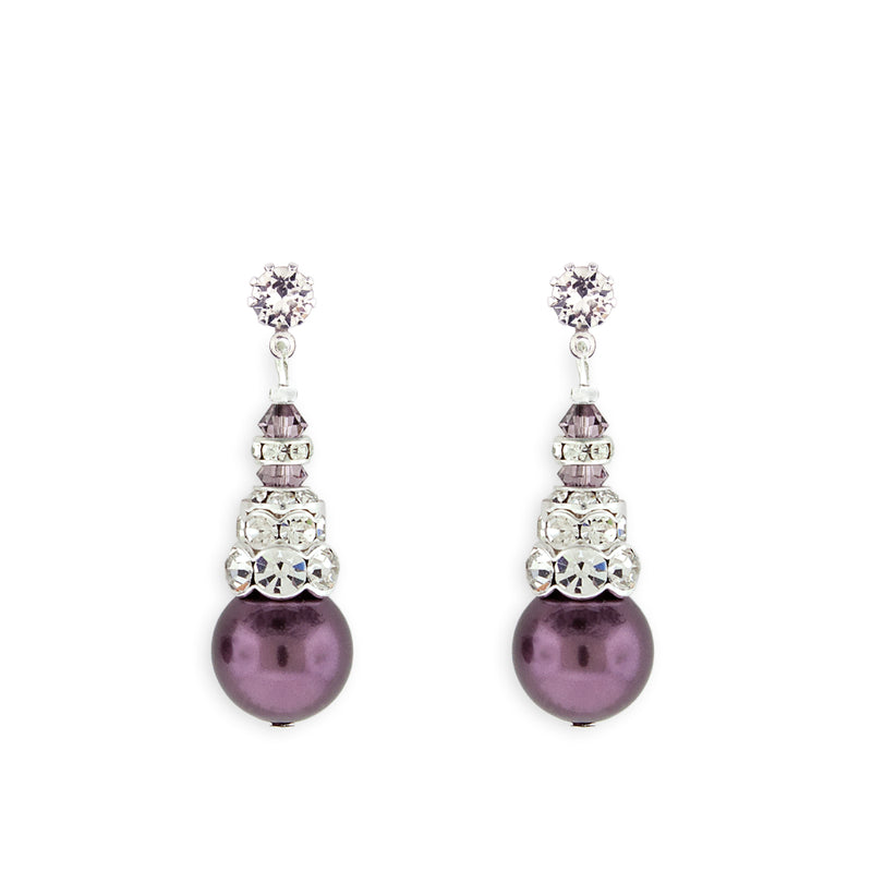 Purple Pearl Earrings with Silver Accents - Variation 3