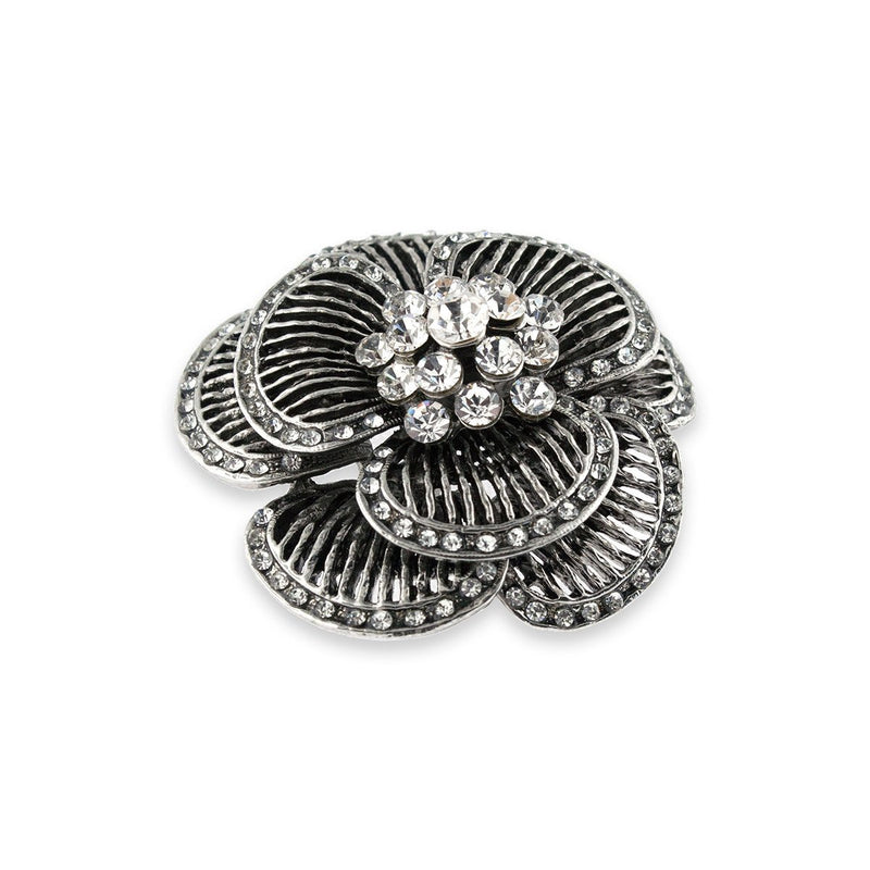 Layered Crystal Floral Brooch - side view