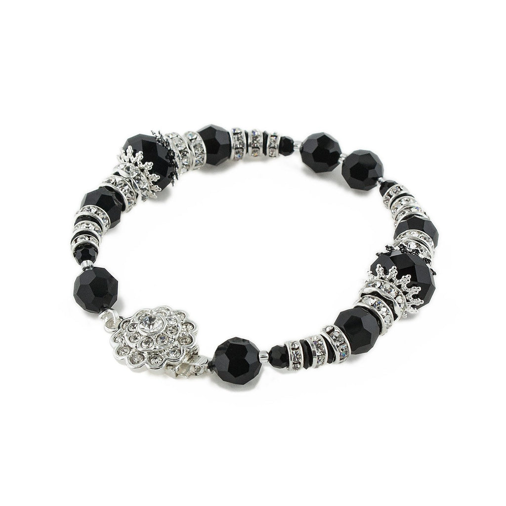 Filigree Accented Beaded Crystal Bracelet - Black