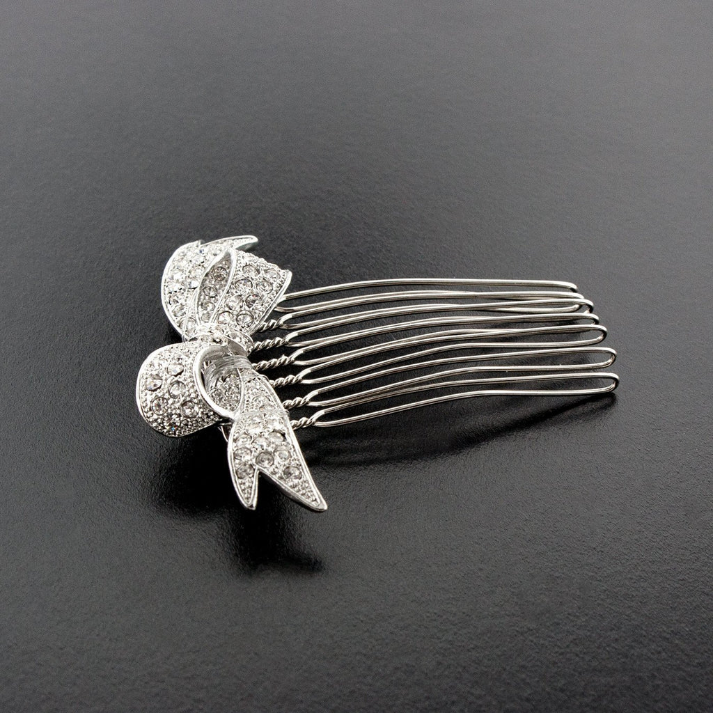 Pave Crystal Bow Haircomb