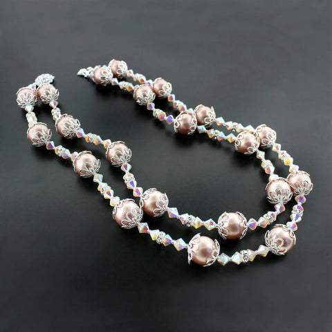 Pink & Champagne Double Row Necklace