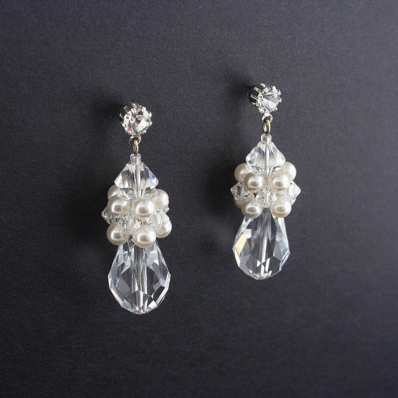 Crystal & Pearl Cluster Earrings - angle