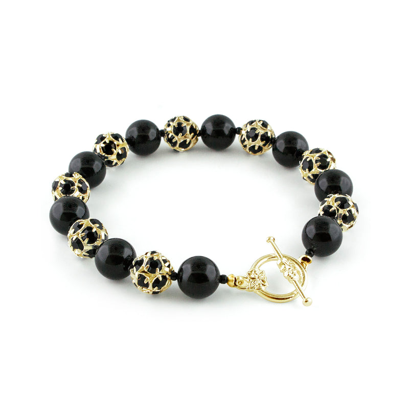 Black Pearl & Rhinestone Bead Bracelet - toggle