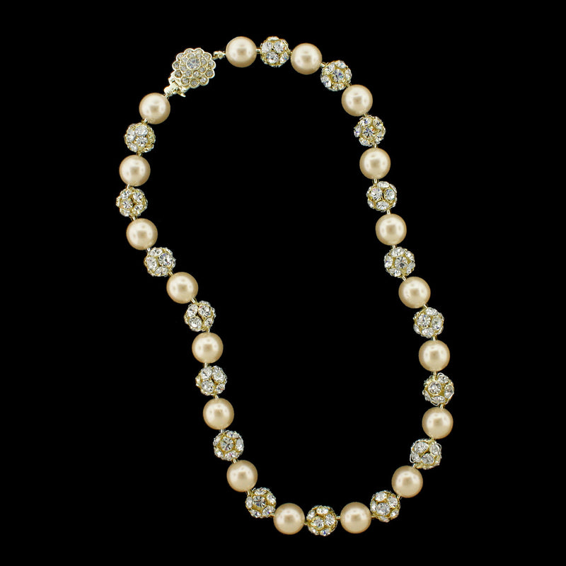 Antique pearl and gold rhinestone bead necklace