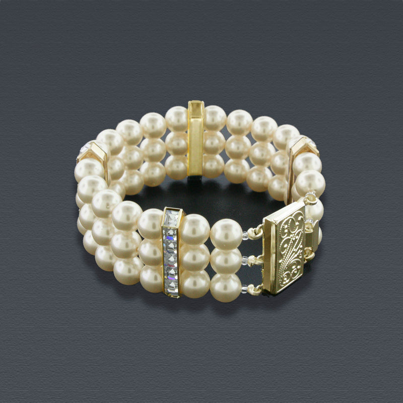 3 Row Pearl Bracelet with Princess Cut Crystals - Gold