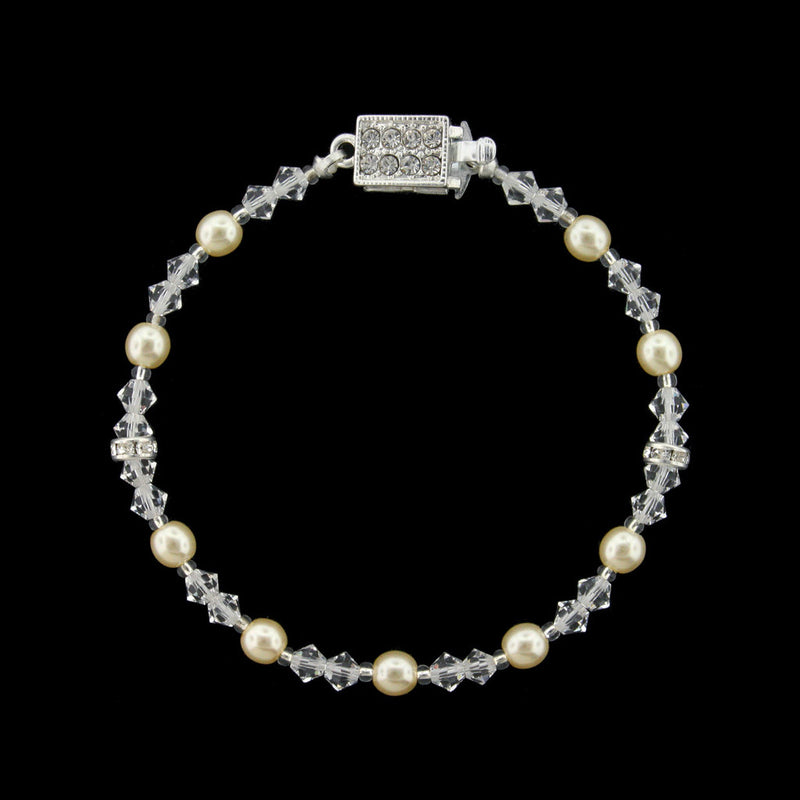 Beaded Pearl & Crystal Bridal Bracelet