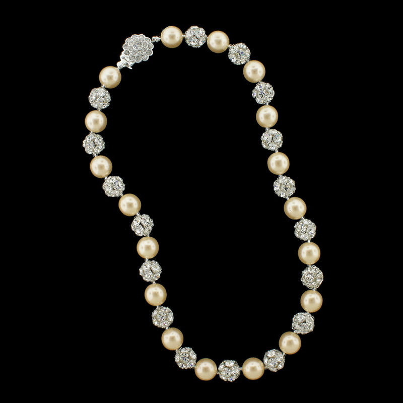 Antique pearl and silver rhinestone bead necklace
