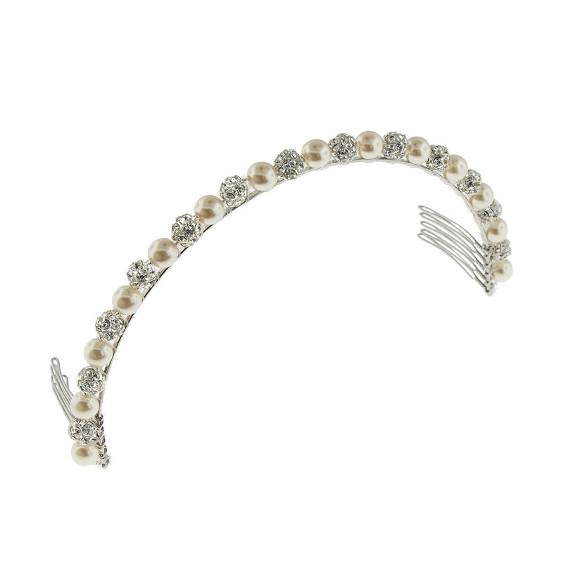 Pearl Headband with Rhinestone Beads