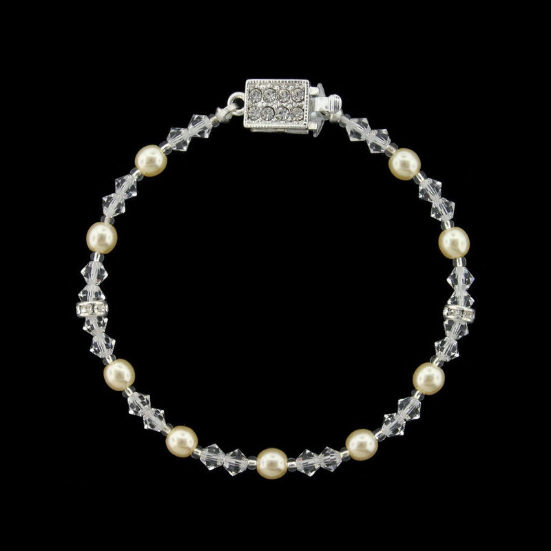 Single-Row Beaded Bridal Bracelet