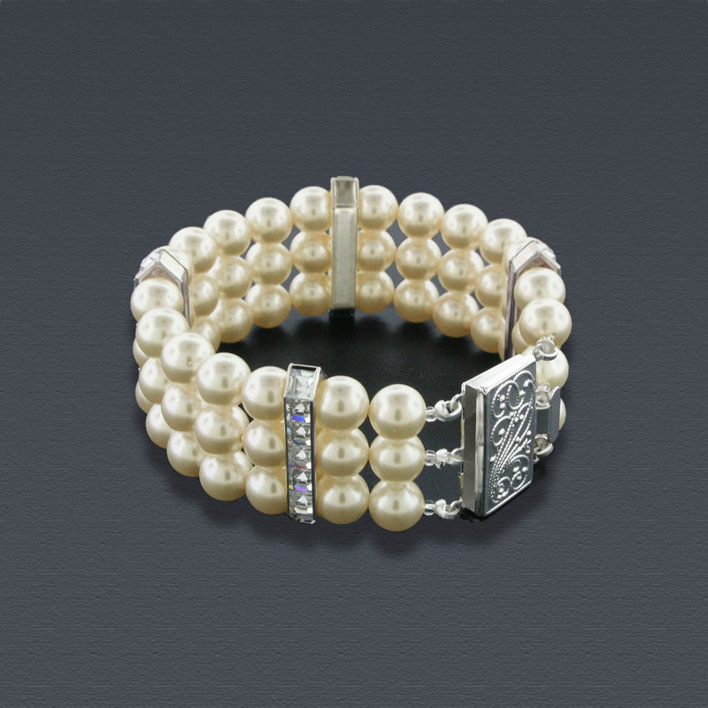 3 Row Antique Pearl Bracelet with Princess Cut Crystals