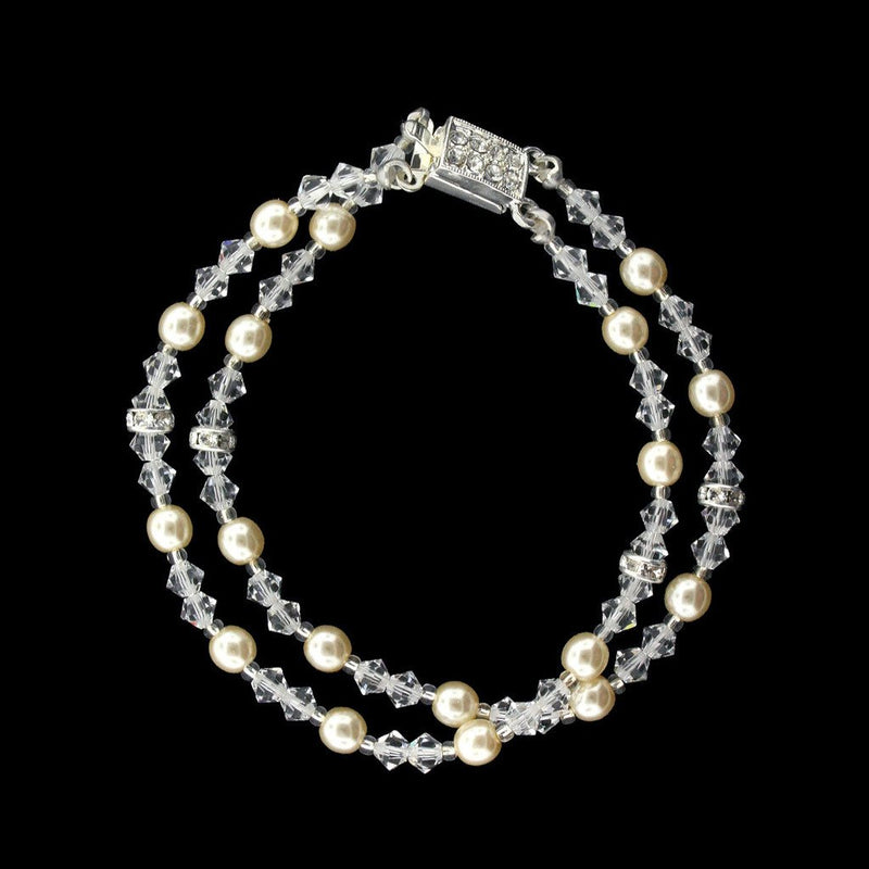 2-Row Crystal & Antique Pearl Bracelet