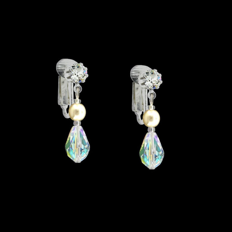 Iridescent Crystal Earrings with Pearl Center