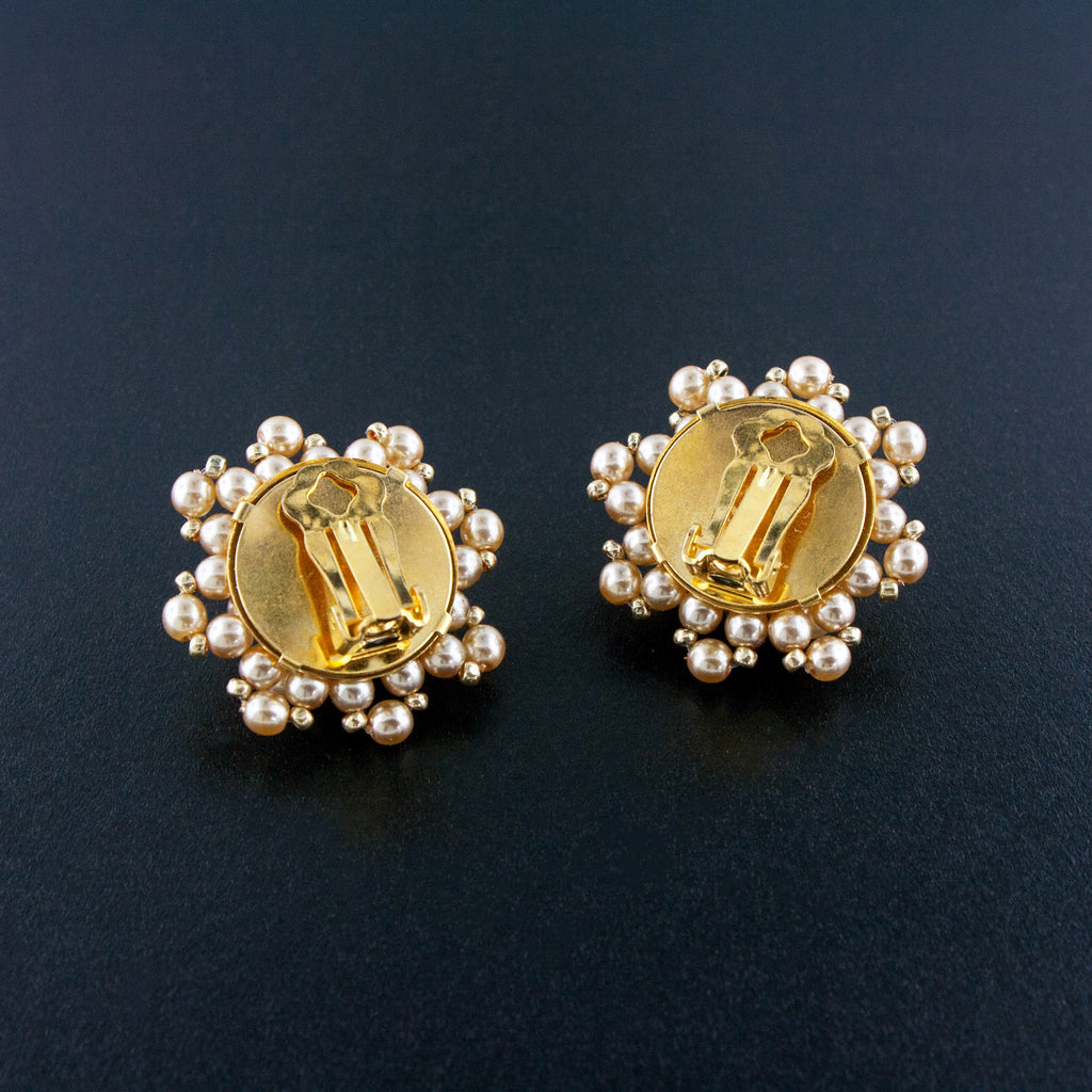 Woven Cluster Pearl Earrings - clip-on