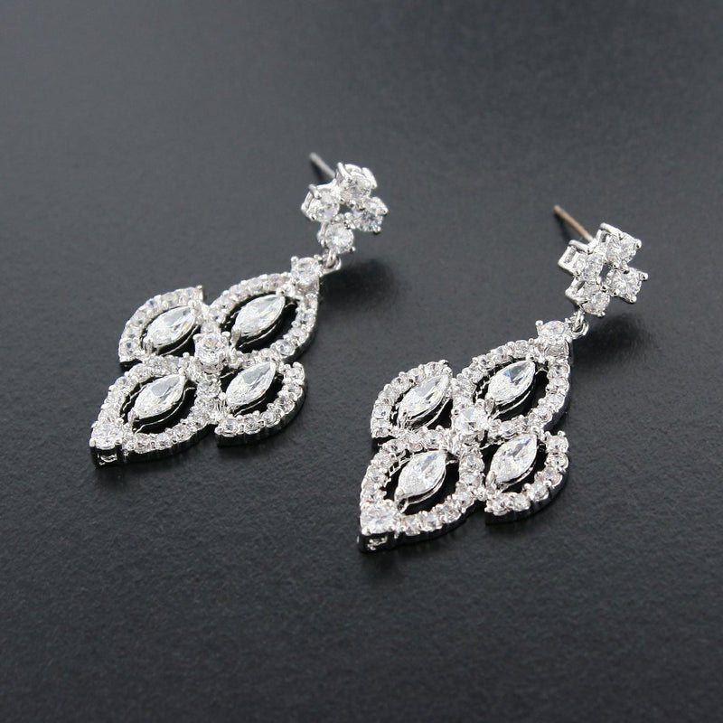 Diamond Shaped CZ Earrings