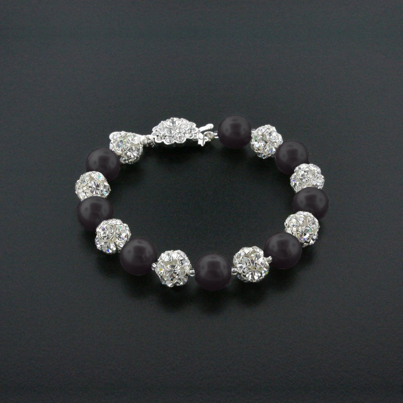 black pearl bracelet with rhinestone beads