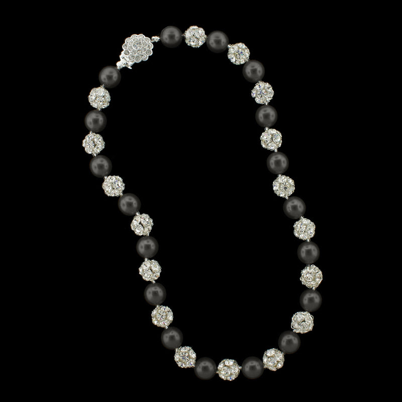Black pearl and silver rhinestone bead necklace
