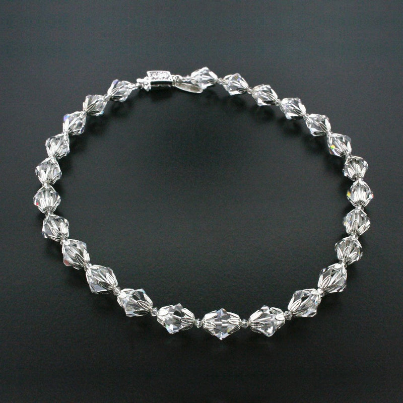 Crystal Bicone Necklace with Silver Accents