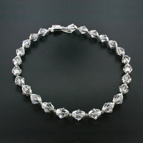 Crystal Bead Necklace with Silver Accents