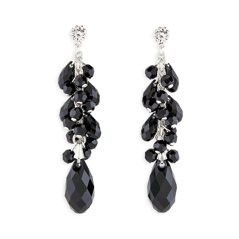 Black Clustered Briolette Drop Earrings