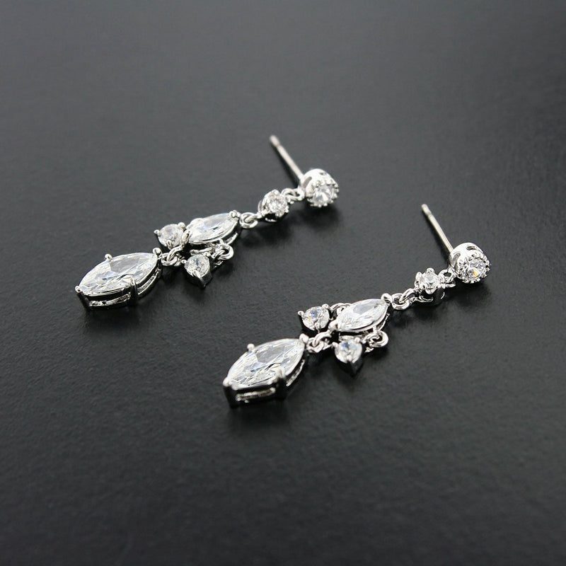 CZ earrings with double stone top