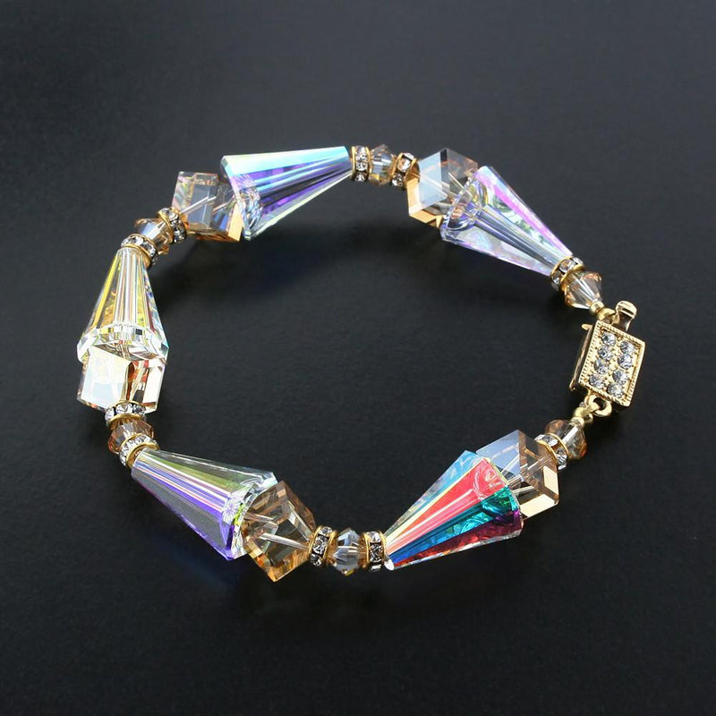 Geometric Crystal Bracelet in Champagne & AB