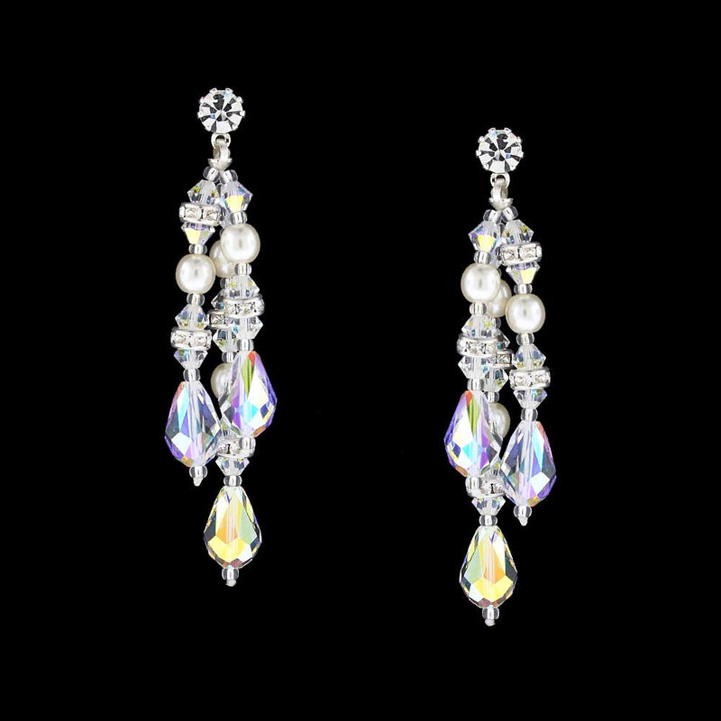 Multi-Drop Crystal & Pearl Earrings