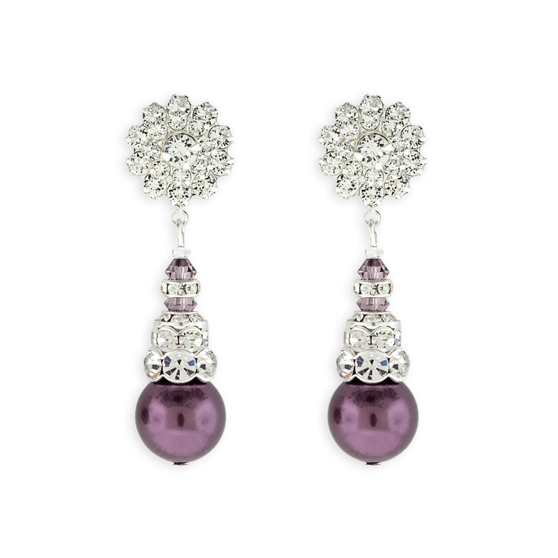 Purple Pearl Earrings with Silver Accents - Variation 1