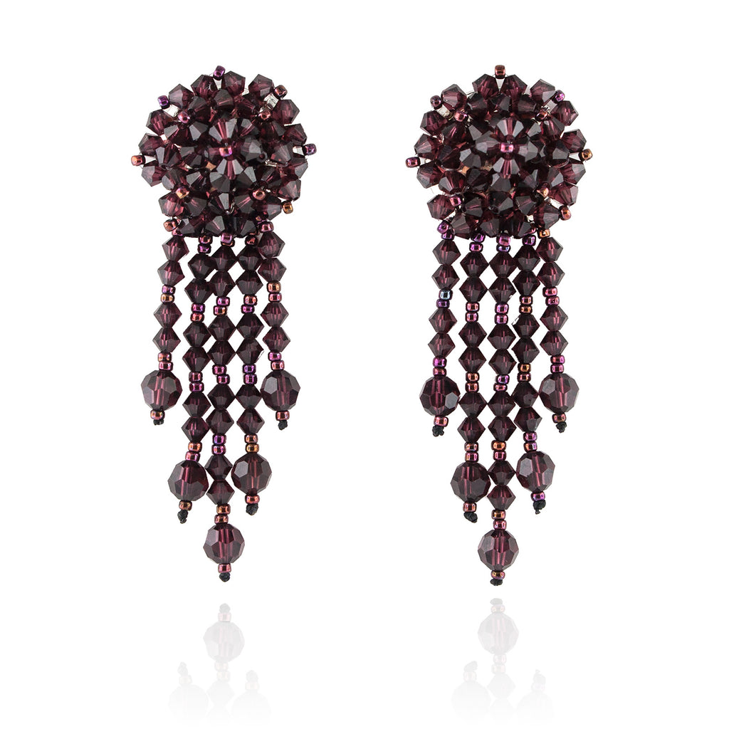 Burgundy Statement Earrings with Woven Cluster