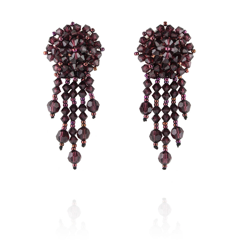 Burgundy Statement Earrings with Woven Cluster - short