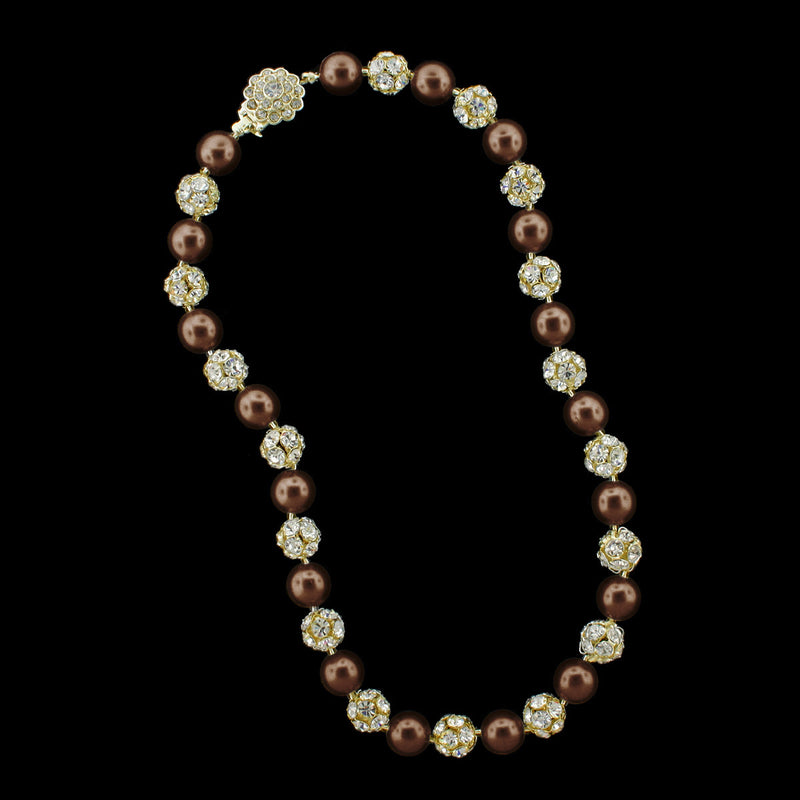 Chocolate pearl and gold rhinestone bead necklace