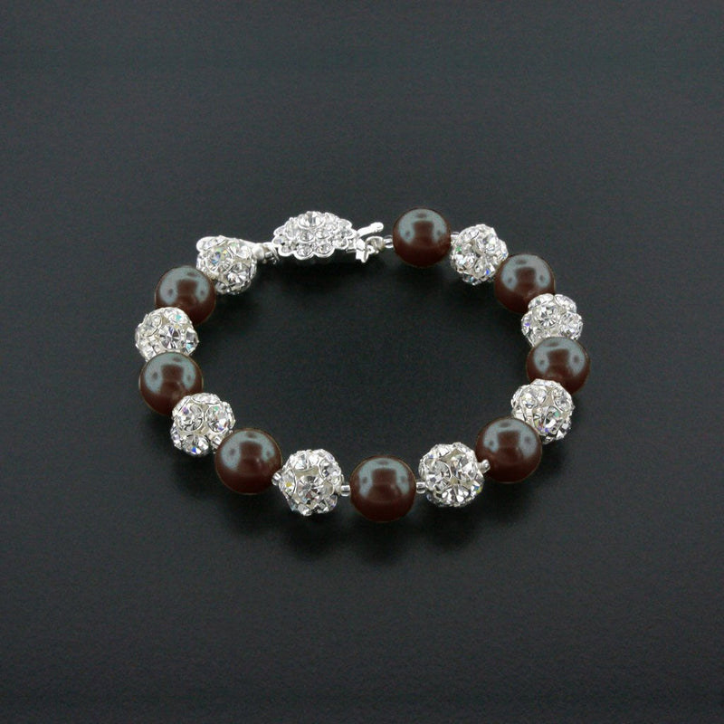 chocolate pearl bracelet with rhinestone beads