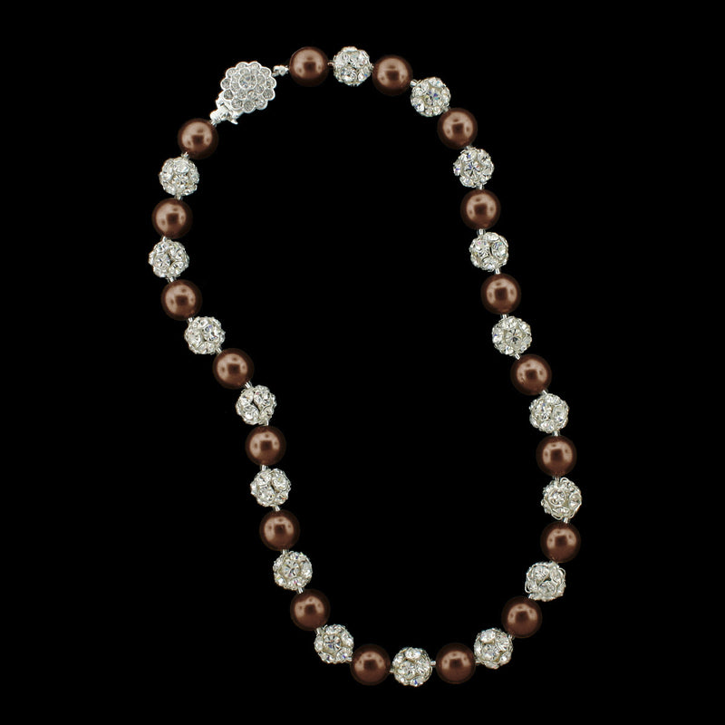 Chocolate pearl and silver rhinestone bead necklace