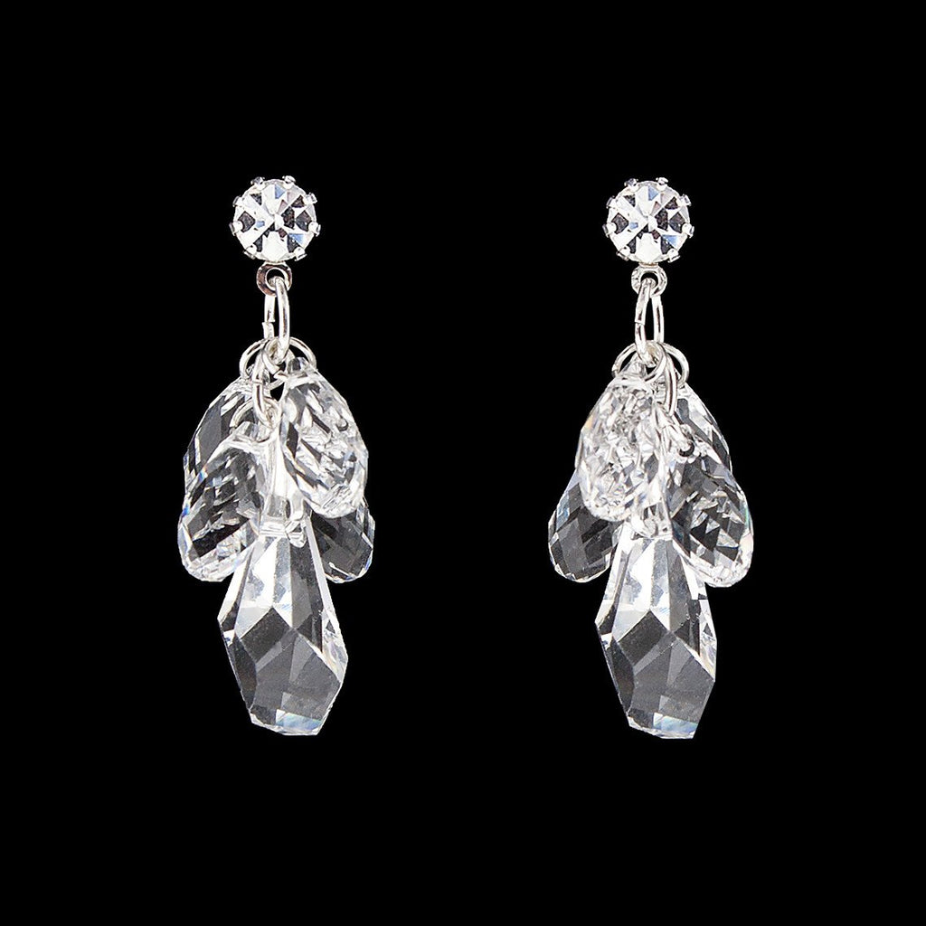 Clear Swarovski crystal cluster earrings