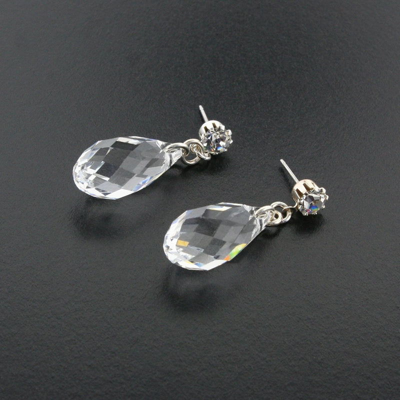 Briolette Crystal Drop Earrings - Clear