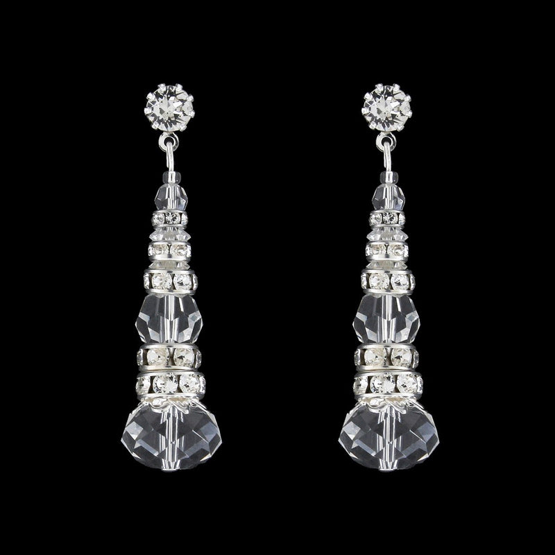Crystal & Rondelle Beaded Drops - clear